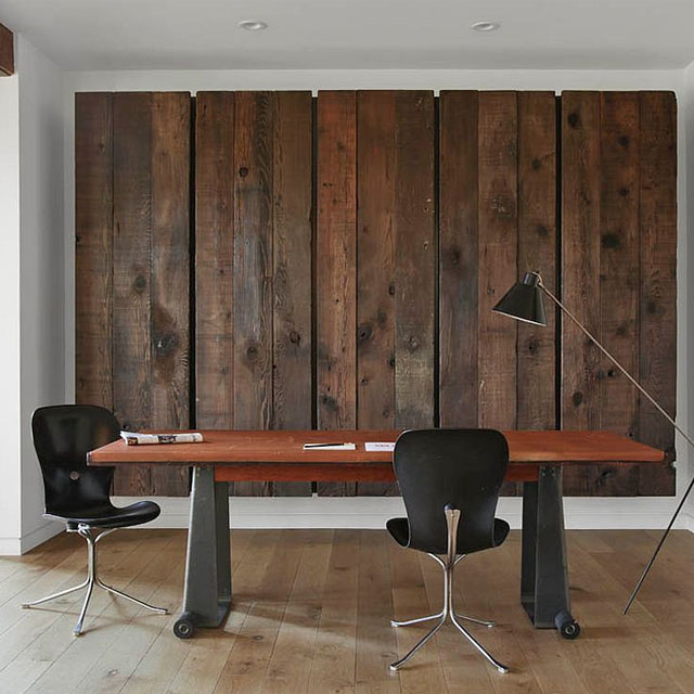 Modern Office With Reclaimed Wood Backdrop
