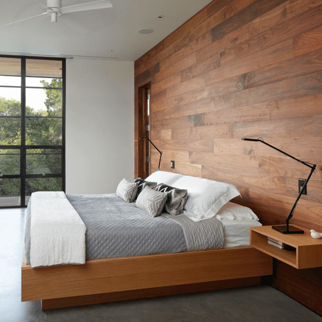 Bedroom with Reclaimed Wood Panel Backdrop